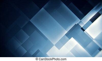 bleu, résumé, seamless, mouvement, incandescent, fond, carrés, boucle
