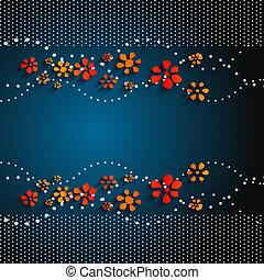 bleu, résumé, sombre, vecteur, fond, floral