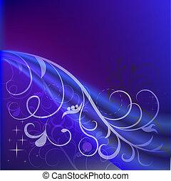 bleu, résumé, space., fond foncé, floral, copie