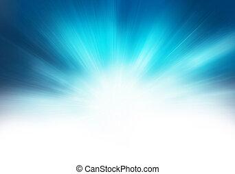bleu, résumé, starburst, fond