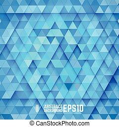 bleu, résumé, triangle, fond