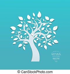 bleu, résumé, vecteur, arbre, fond