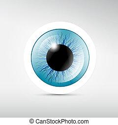 bleu, résumé, vecteur, oeil