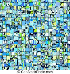 bleu, résumé, vert, tuile mosaïque, toile de fond