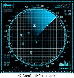 bleu, radar, hud, screen., interface.