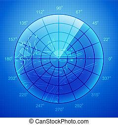 bleu, radar, screen.