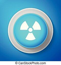 bleu, radioactif, arrière-plan., signe., radiation, isolé, illustration, symbole., ligne., vecteur, danger, toxique, cercle, bouton blanc, icône