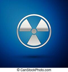 bleu, radioactif, signe., radiation, isolé, danger, symbole., arrière-plan., vecteur, illustration, toxique, argent, icône