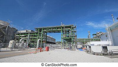 bleu, raffinerie, plante, industriel, ciel