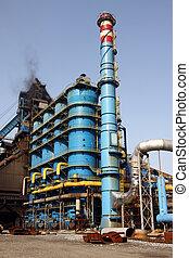 bleu, rafinery, cheminée