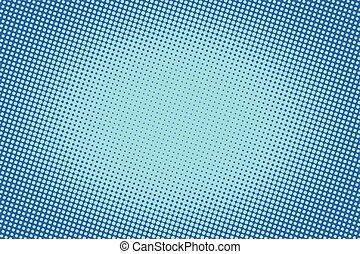 bleu, raster, gradient, halftone, retro, fond, comique