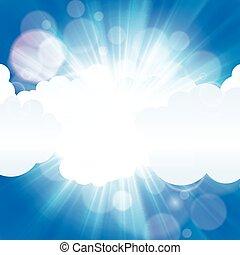 bleu, rayon, soleil, nuages, ciel, beau