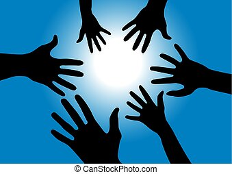 bleu, rayons, atteindre, lumière, mains, -, ciel, illustration, vecteur, noir, soleil