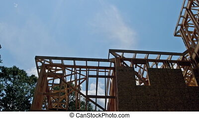 bleu, rayons, ciel clair, haut, lumière soleil, regarder, construction, sous, nouveau