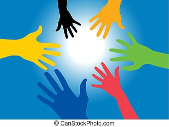 bleu, rayons, coloré, atteindre, lumière, mains, -, illustratio, vecteur, soleil, ciel