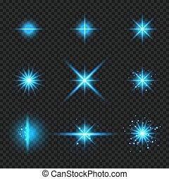 bleu, rayons, ensemble, étoiles, éclater, lumière, isolé, incandescent, concentrations, fond, scintillements, transparent, éléments