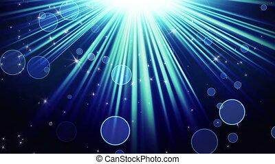 bleu, rayons, fond, lumière, loopable, étoiles