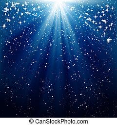 bleu, rayons, fond, neige, étoiles, lumineux, tomber