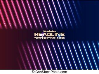 bleu, rayons, laser, pourpre, résumé, néon, fond