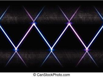 bleu, rayons, laser, résumé, néon, ultra-violet, bannière