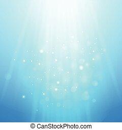 bleu, rayons, light., brouillé, bokeh, vecteur, fond