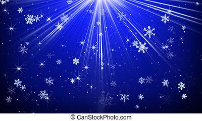 bleu, rayons, lumière, résumé, chute neige, fond