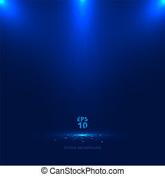 bleu, rayons, lumière, sparkling., fond, tomber, projecteur, étape