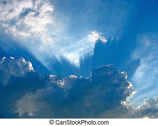 bleu, rayons, nuages, soleil, ciel, par
