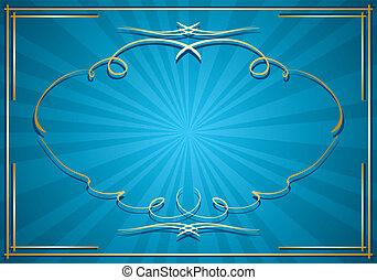 bleu, rayons, or, cadre, -, vecteur, fond