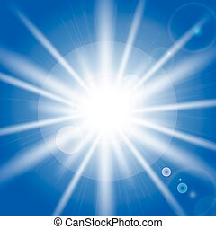 bleu, rayons, sky., soleil, illustration, vecteur, effets, lumière