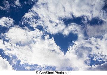 bleu, rayons, soleil, ciel, clair, céleste, oiseau