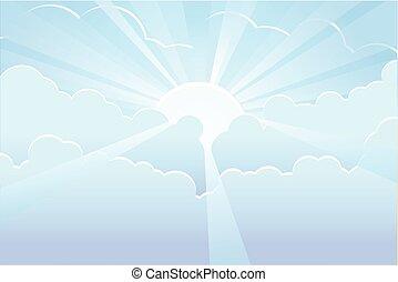 bleu, rayons soleil, ciel, vecteur