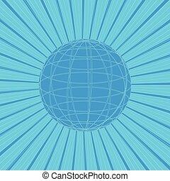 bleu, rayons, soleil, résumé, illustration, arrière-plan., vecteur, ligne, globe, design.