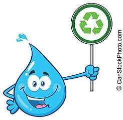 bleu, recyclage, goutte, caractère, signe, eau, tenue, dessin animé