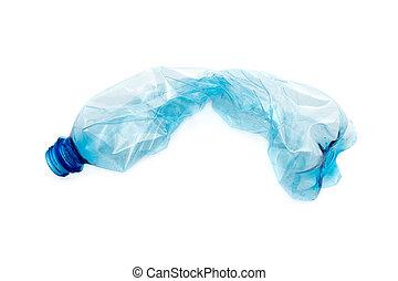 bleu, recyclage, recyclable, ressources, disposition, déchets, lumière, réutilisation, écrasé, plastique, environnement, arrière-plan., waste., écologie, bouteille, concept., vide