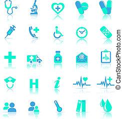 bleu, refléter, soin, santé, icônes
