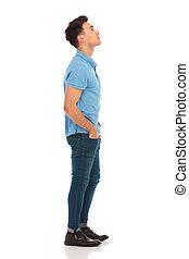 bleu, regarder, homme, chemise, haut