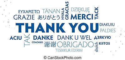 bleu, remercier, carte postale, multilingue, vous, blanc