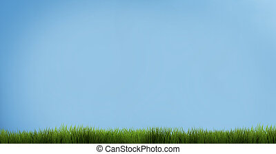 bleu, render, ciel, grass., herbe verte, 3d
