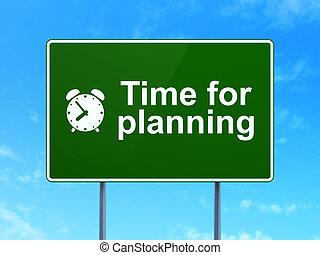 bleu, render, horloge, signe, timeline, reveil, ciel, planification, fond, (highway), vert, concept:, temps, icône, clair, route, 3d