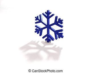 bleu, render, -, illustration, flocon de neige, 3d