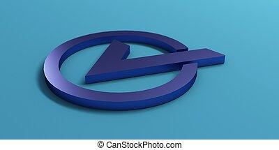 bleu, render, mark., illustration, chèque, 3d