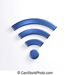 bleu, render, wifi, symbole., illustration, sans fil, 3d