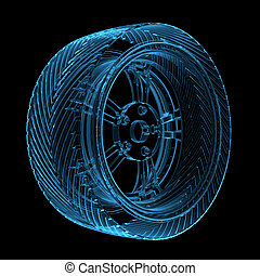 bleu, rendu, pneu, voiture, incandescent, transparent, 3d