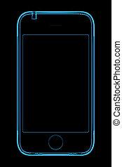 bleu, rendu, téléphone, 3g, transparent, rayon x, 3d