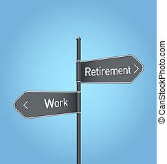 bleu, retraite, travail, signe, vs, fond, choix, route