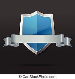 bleu, ribbon., illustration., vecteur, argent, bouclier
