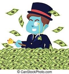 bleu, riche, argent, mer, homme, heureux