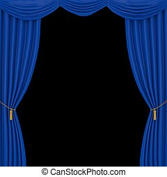 bleu, rideaux, arrière-plan noir
