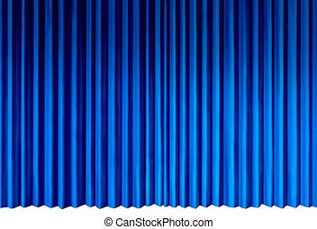 bleu, rideaux
